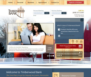 A desktop view of the new TimberwoodBanks.com