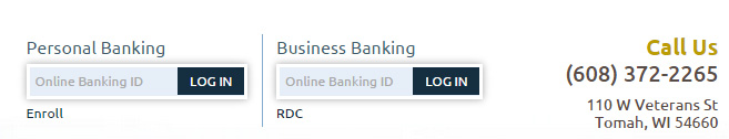 Login to your online banking account easily from the top of every page on our new website.